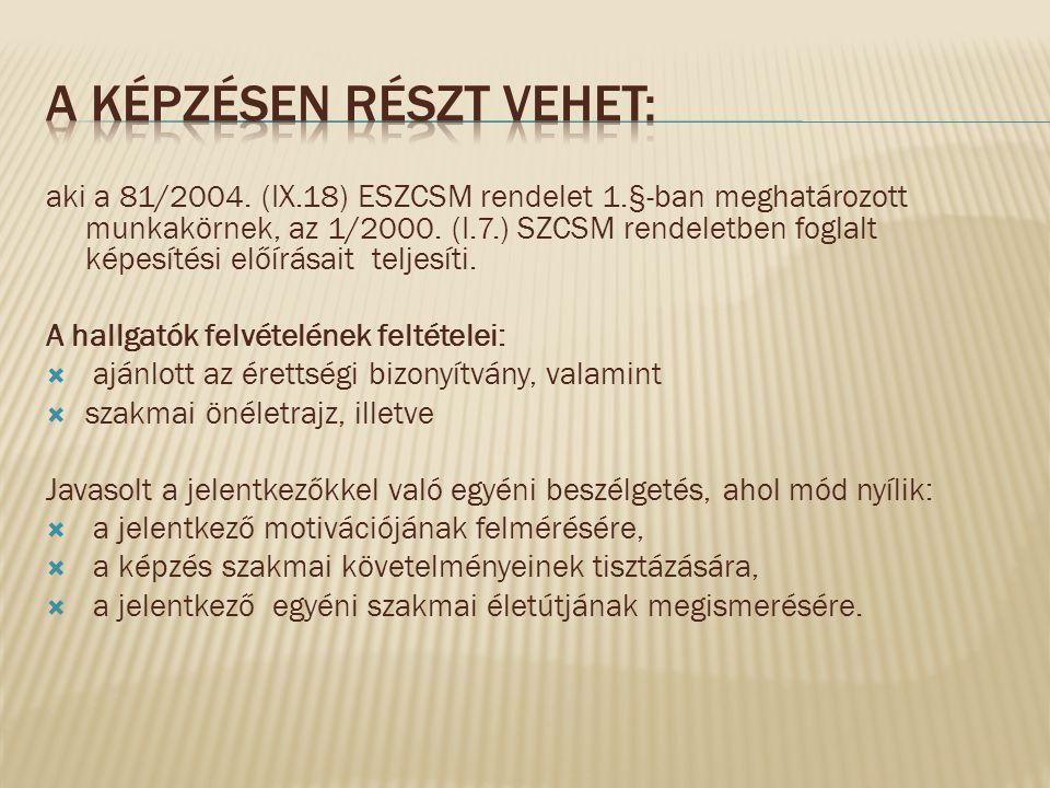 aki a 81/2004. (IX.18) ESZCSM rendelet 1.§-ban meghatározott munkakörnek, az 1/2000. (I.7.) SZCSM rendeletben foglalt képesítési előírásait teljesíti.