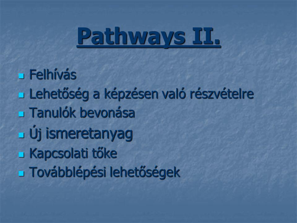 Pathways II.  Felhívás  Lehetőség a képzésen való részvételre  Tanulók bevonása  Új ismeretanyag  Kapcsolati tőke  Továbblépési lehetőségek