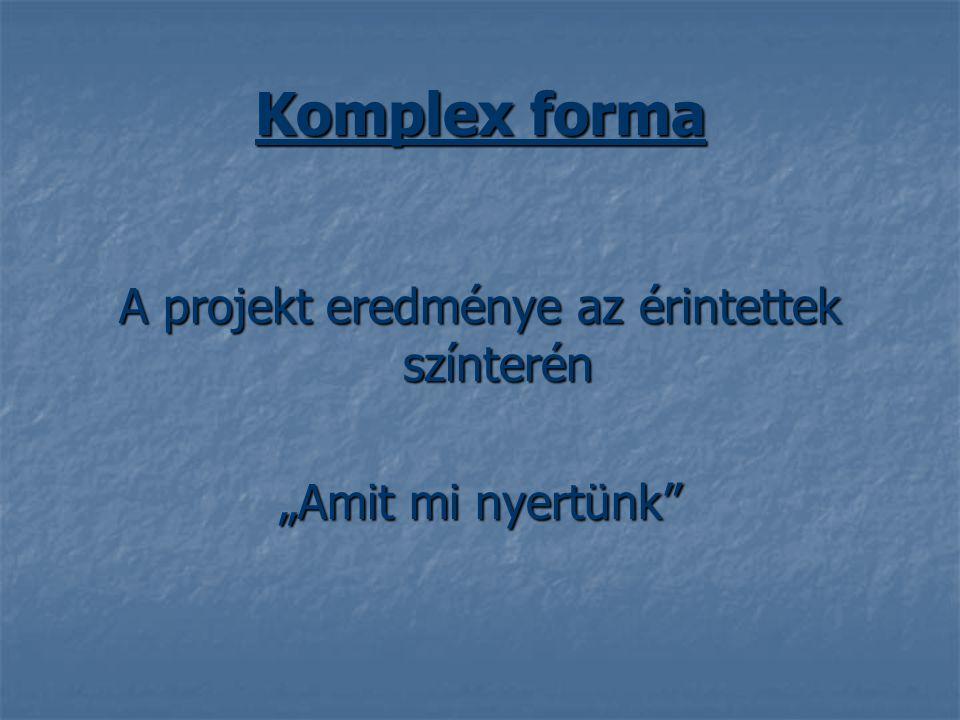 """Komplex forma A projekt eredménye az érintettek színterén """"Amit mi nyertünk"""