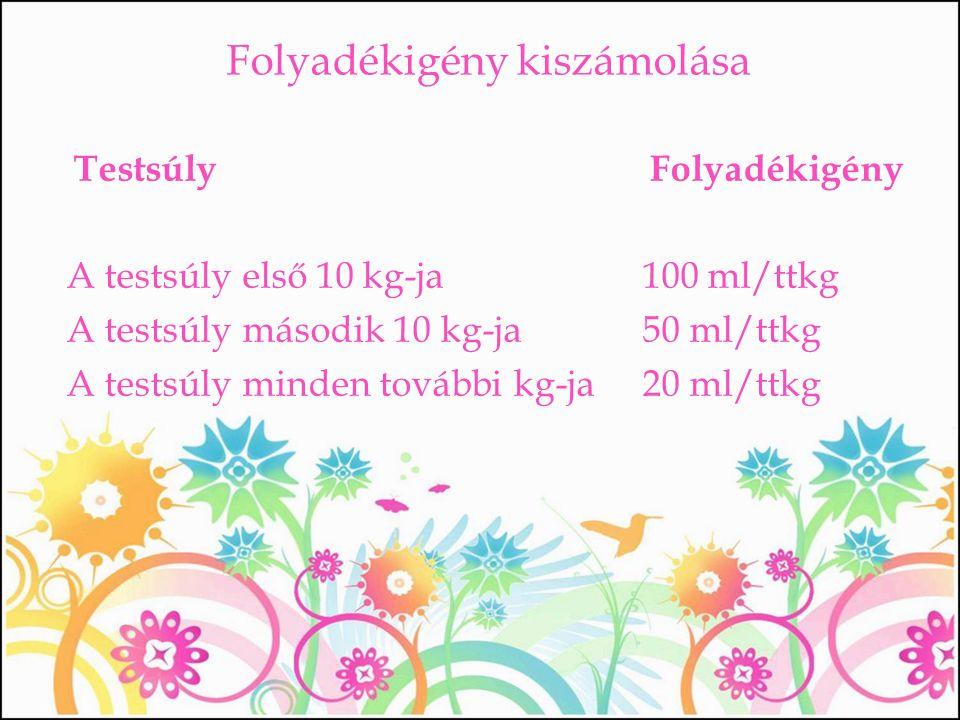 Folyadékigény kiszámolása TestsúlyFolyadékigény A testsúly első 10 kg-ja 100 ml/ttkg A testsúly második 10 kg-ja 50 ml/ttkg A testsúly minden további
