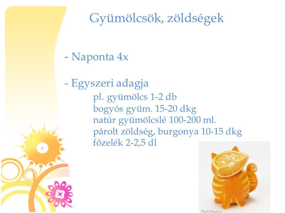 Gyümölcsök, zöldségek - Naponta 4x - Egyszeri adagja pl. gyümölcs 1-2 db bogyós gyüm. 15-20 dkg natúr gyümölcslé 100-200 ml. párolt zöldség, burgonya