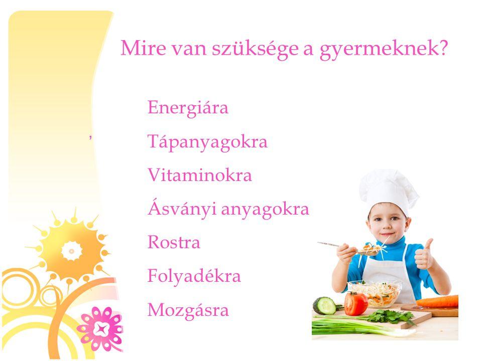Mire van szüksége a gyermeknek?, Energiára Tápanyagokra Vitaminokra Ásványi anyagokra Rostra Folyadékra Mozgásra