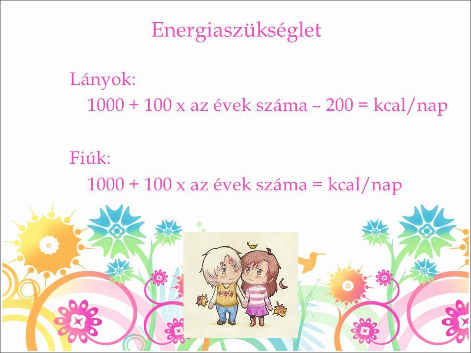 Energiaszükséglet Lányok: 1000 + 100 x az évek száma – 200 = kcal/nap Fiúk: 1000 + 100 x az évek száma = kcal/nap