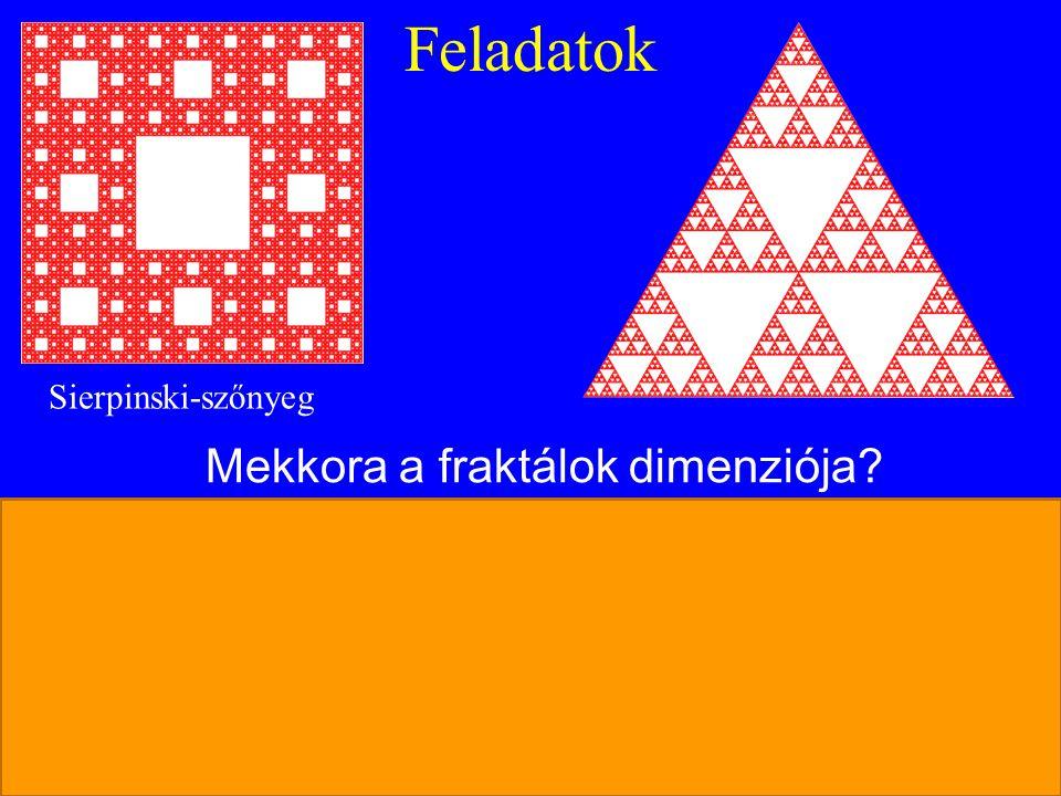 Feladatok Mekkora a fraktálok dimenziója? N= 8 db hasonló rész s= 3-szoros kicsinyítése az egésznek N= 6 db hasonló rész s= 3-szoros kicsinyítése az e
