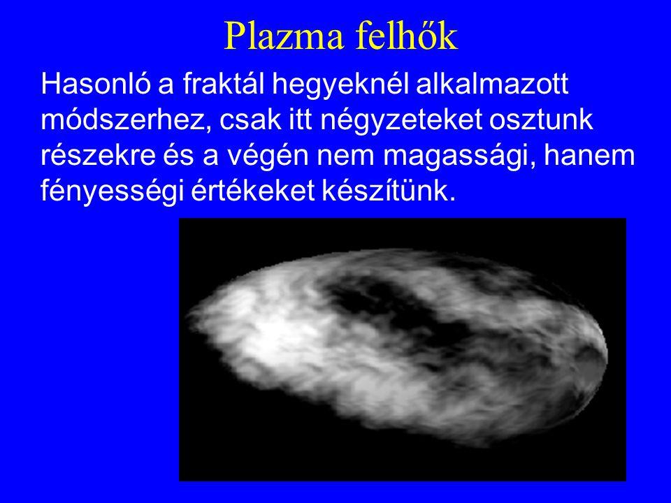 Plazma felhők Hasonló a fraktál hegyeknél alkalmazott módszerhez, csak itt négyzeteket osztunk részekre és a végén nem magassági, hanem fényességi ért