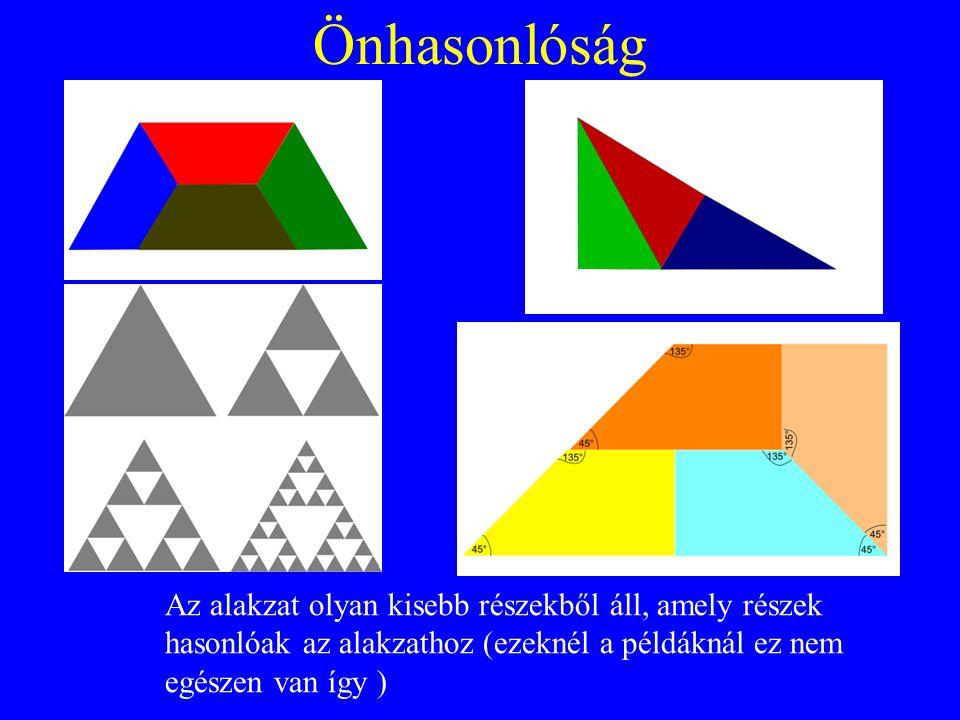 Önhasonlóság Az alakzat olyan kisebb részekből áll, amely részek hasonlóak az alakzathoz (ezeknél a példáknál ez nem egészen van így )
