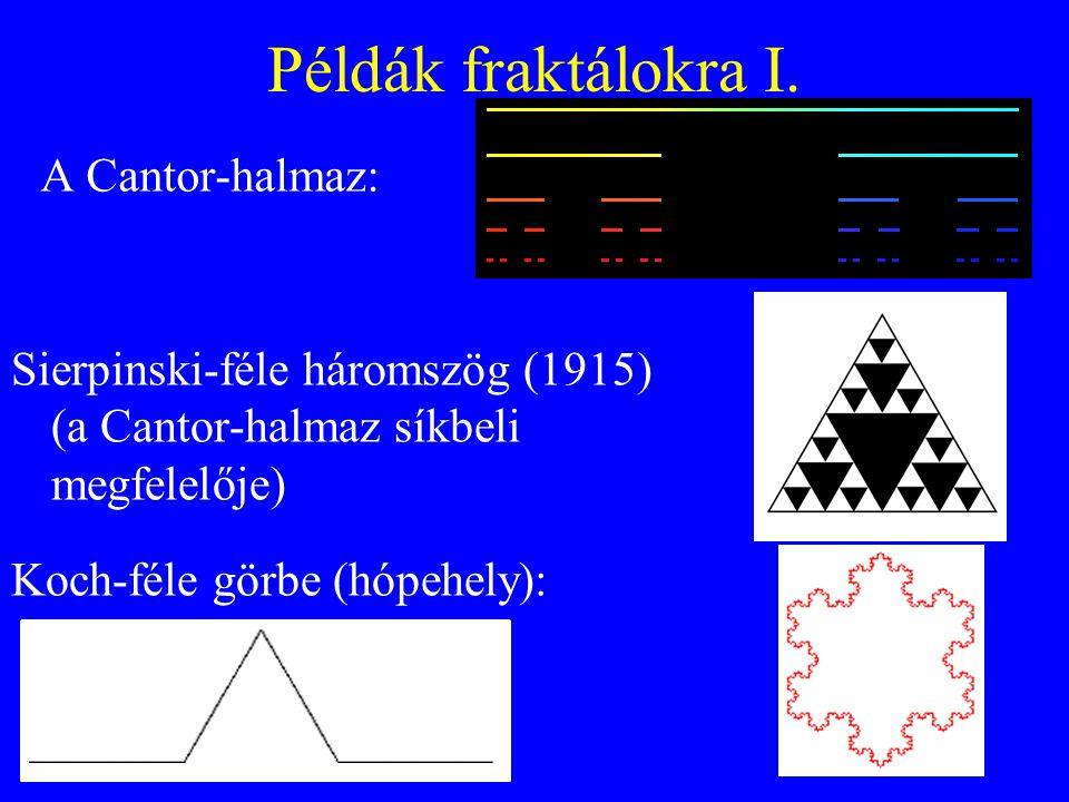 Példák fraktálokra I. Sierpinski-féle háromszög (1915) (a Cantor-halmaz síkbeli megfelelője) Koch-féle görbe (hópehely): A Cantor-halmaz: