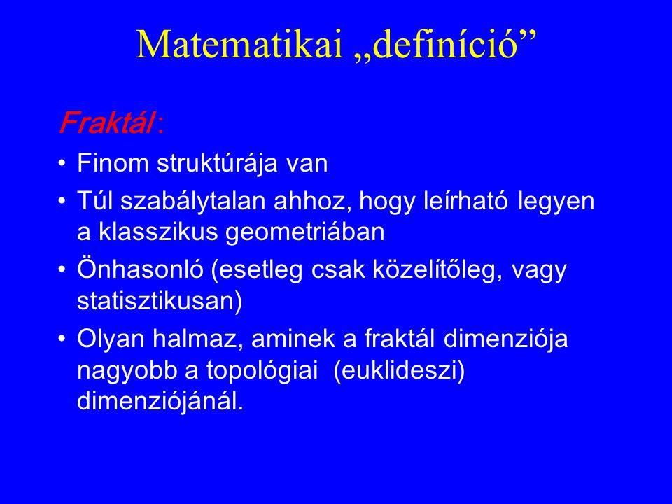 """Matematikai """"definíció"""" Fraktál : •Finom struktúrája van •Túl szabálytalan ahhoz, hogy leírható legyen a klasszikus geometriában •Önhasonló (esetleg c"""