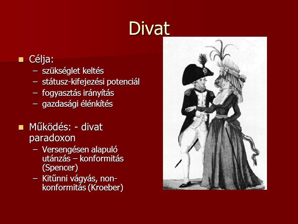 Divat  Célja: –szükséglet keltés –státusz-kifejezési potenciál –fogyasztás irányítás –gazdasági élénkítés  Működés: - divat paradoxon –Versengésen a