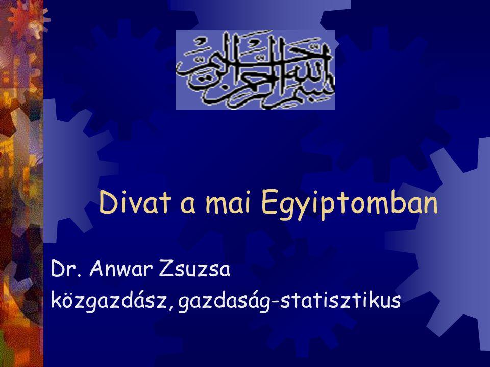 Divat a mai Egyiptomban Dr. Anwar Zsuzsa közgazdász, gazdaság-statisztikus