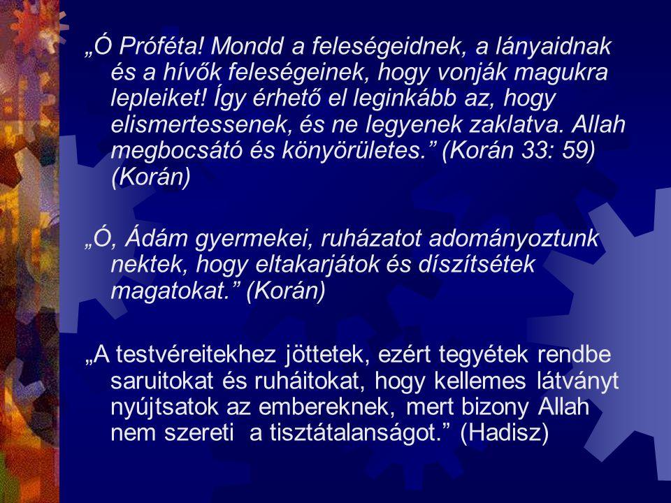 """""""Ó Próféta! Mondd a feleségeidnek, a lányaidnak és a hívők feleségeinek, hogy vonják magukra lepleiket! Így érhető el leginkább az, hogy elismertessen"""