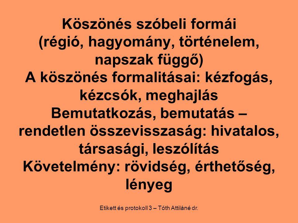 Etikett és protokoll 3 – Tóth Attiláné dr.