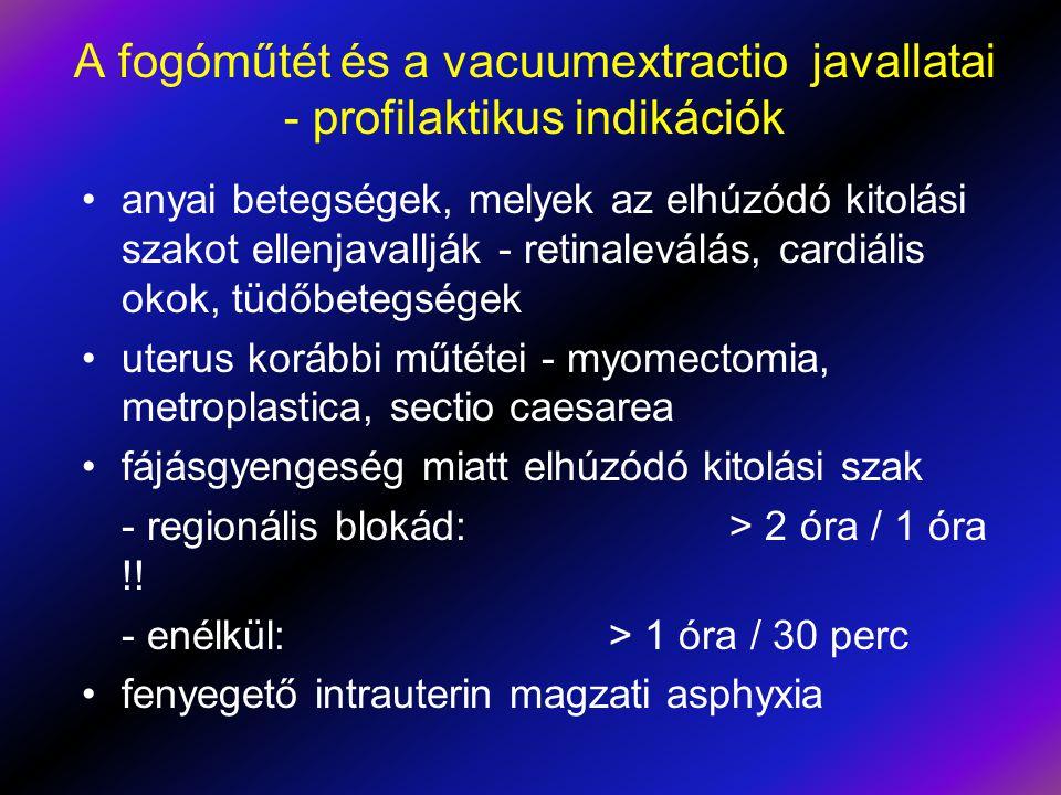 A fogóműtét és a vacuumextractio javallatai - profilaktikus indikációk •anyai betegségek, melyek az elhúzódó kitolási szakot ellenjavallják - retinale