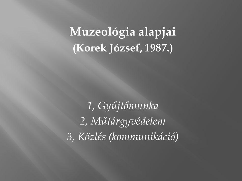 Muzeológia alapjai (Korek József, 1987.) 1, Gyűjtőmunka 2, Műtárgyvédelem 3, Közlés (kommunikáció)