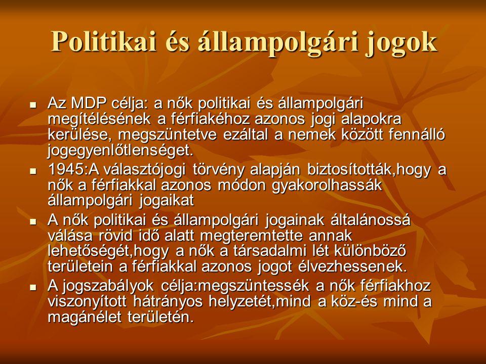 Politikai és állampolgári jogok  Az MDP célja: a nők politikai és állampolgári megítélésének a férfiakéhoz azonos jogi alapokra kerülése, megszüntetv