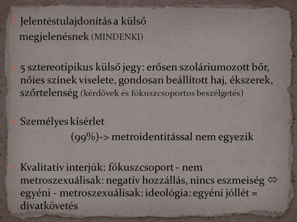  Jelentéstulajdonítás a külső megjelenésnek (MINDENKI)  5 sztereotipikus külső jegy: erősen szoláriumozott bőr, nőies színek viselete, gondosan beállított haj, ékszerek, szőrtelenség (kérdővek és fókuszcsoportos beszélgetés)  Személyes kísérlet (99%)-> metroidentitással nem egyezik  Kvalitatív interjúk: fókuszcsoport - nem metroszexuálisak: negatív hozzállás, nincs eszmeiség  egyéni - metroszexuálisak: ideológia: egyéni jóllét = divatkövetés