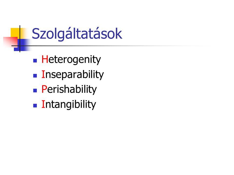 Szolgáltatások  Heterogenity  Inseparability  Perishability  Intangibility