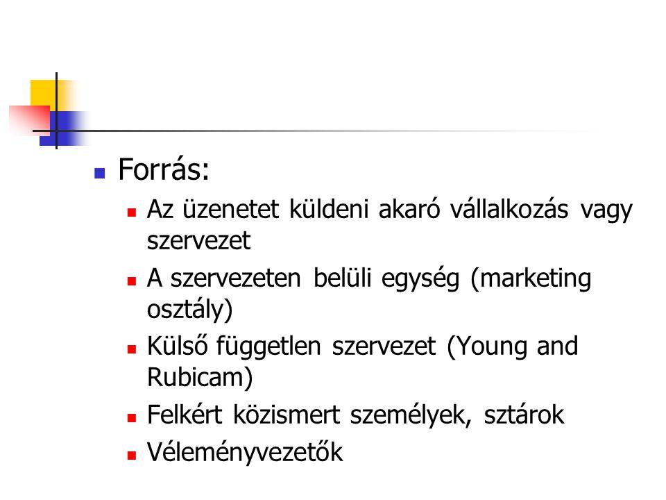  Forrás:  Az üzenetet küldeni akaró vállalkozás vagy szervezet  A szervezeten belüli egység (marketing osztály)  Külső független szervezet (Young