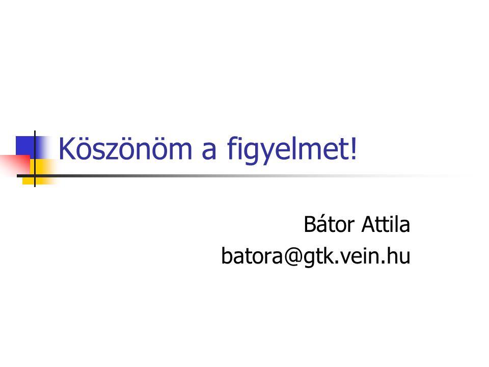 Köszönöm a figyelmet! Bátor Attila batora@gtk.vein.hu