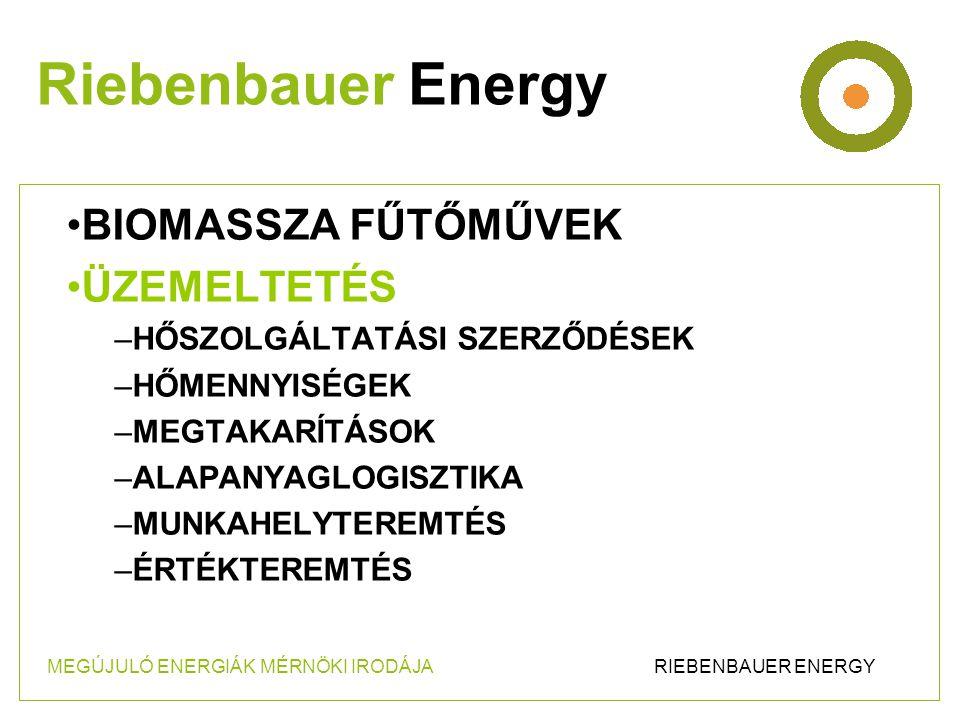 •BIOMASSZA FŰTŐMŰVEK •ÜZEMELTETÉS –HŐSZOLGÁLTATÁSI SZERZŐDÉSEK –HŐMENNYISÉGEK –MEGTAKARÍTÁSOK –ALAPANYAGLOGISZTIKA –MUNKAHELYTEREMTÉS –ÉRTÉKTEREMTÉS Riebenbauer Energy MEGÚJULÓ ENERGIÁK MÉRNÖKI IRODÁJA RIEBENBAUER ENERGY