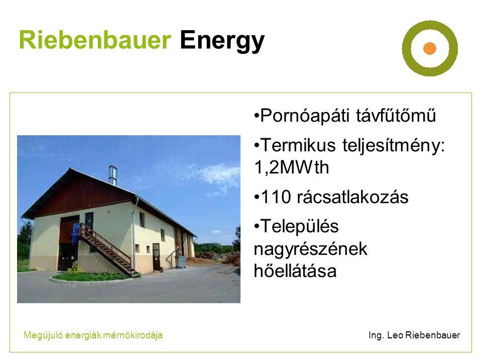 •Pornóapáti távfűtőmű •Termikus teljesítmény: 1,2MWth •110 rácsatlakozás •Település nagyrészének hőellátása Riebenbauer Energy Megújuló energiák mérnökirodája Ing.