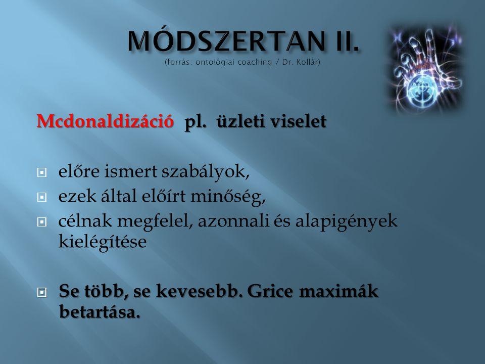 Mcdonaldizáció pl. üzleti viselet  előre ismert szabályok,  ezek által előírt minőség,  célnak megfelel, azonnali és alapigények kielégítése  Se t