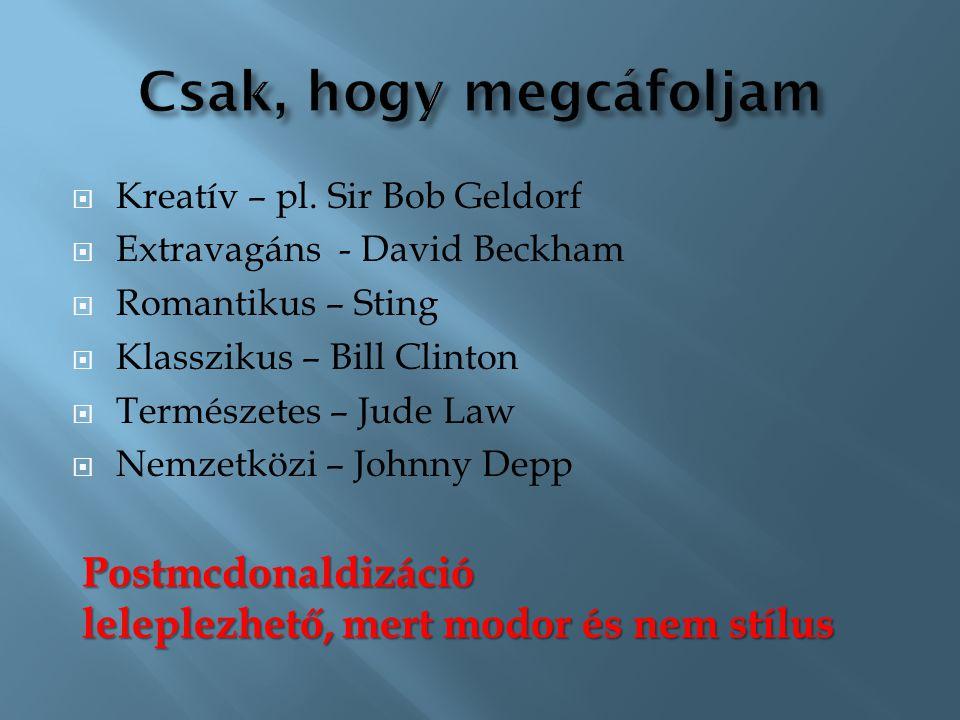  Kreatív – pl. Sir Bob Geldorf  Extravagáns - David Beckham  Romantikus – Sting  Klasszikus – Bill Clinton  Természetes – Jude Law  Nemzetközi –