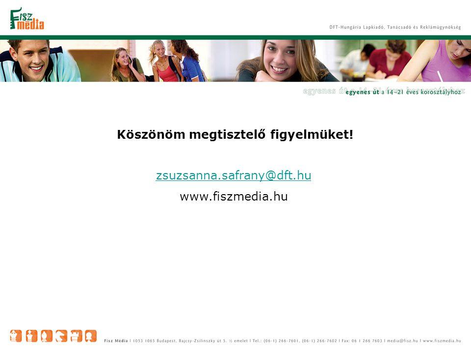 Köszönöm megtisztelő figyelmüket! zsuzsanna.safrany@dft.hu www.fiszmedia.hu
