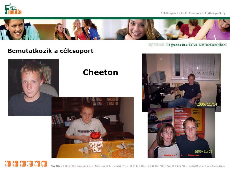 Cheeton 85%-os arányban reprezentálja szokásaival a korosztályt -15 éves, győri srác - naponta 6,5 órát tölt az iskolában – az Interneten 6 órát, igazi netfüggő - készül az angol középfokú nyelvvizsgára - szabadidejéből sokat tölt a chat szobában, online játékokat játszik, sok barátja van az netről - érdekli az aktuálpolitika, amiről határozott és igen kritikus véleménye van – kívülálló.