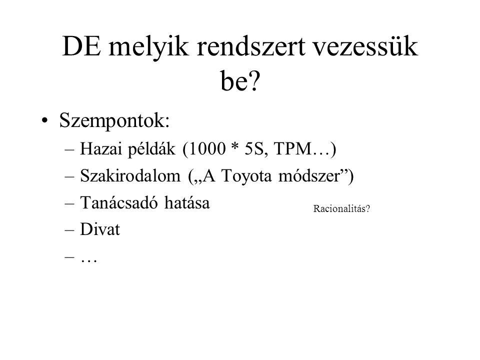 """DE melyik rendszert vezessük be? •Szempontok: –Hazai példák (1000 * 5S, TPM…) –Szakirodalom (""""A Toyota módszer"""") –Tanácsadó hatása –Divat –… Racionali"""
