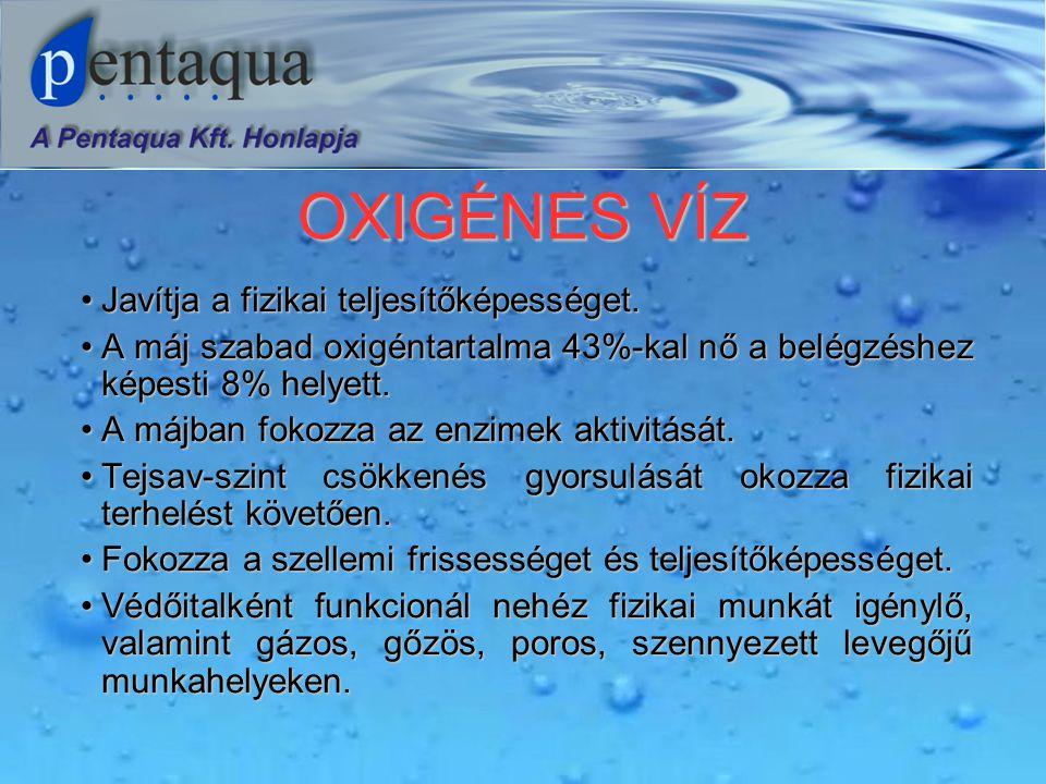 OXIGÉNES VÍZ •Javítja a fizikai teljesítőképességet.