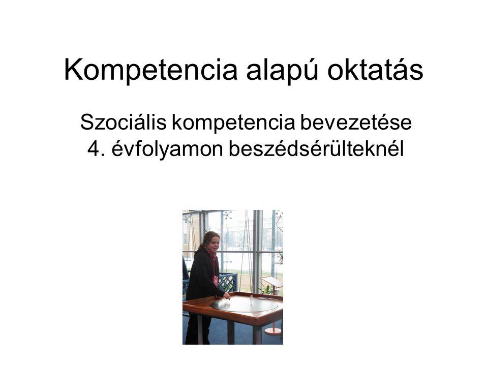 Kompetencia alapú oktatás Szociális kompetencia bevezetése 4. évfolyamon beszédsérülteknél