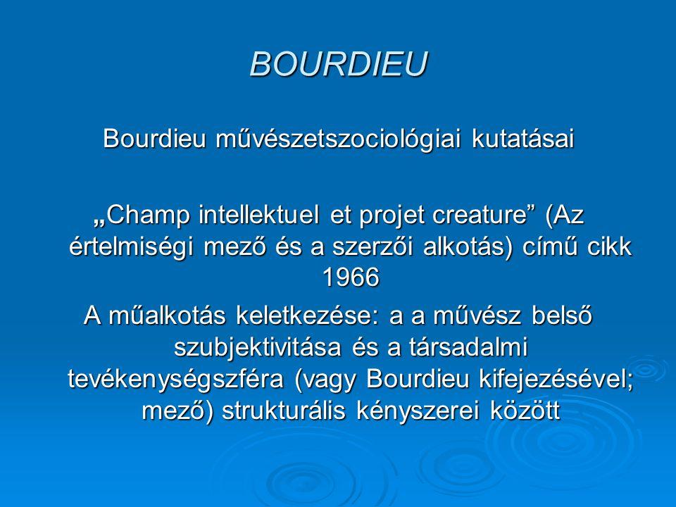 """BOURDIEU Bourdieu művészetszociológiai kutatásai """"Champ intellektuel et projet creature (Az értelmiségi mező és a szerzői alkotás) című cikk 1966 A műalkotás keletkezése: a a művész belső szubjektivitása és a társadalmi tevékenységszféra (vagy Bourdieu kifejezésével; mező) strukturális kényszerei között"""