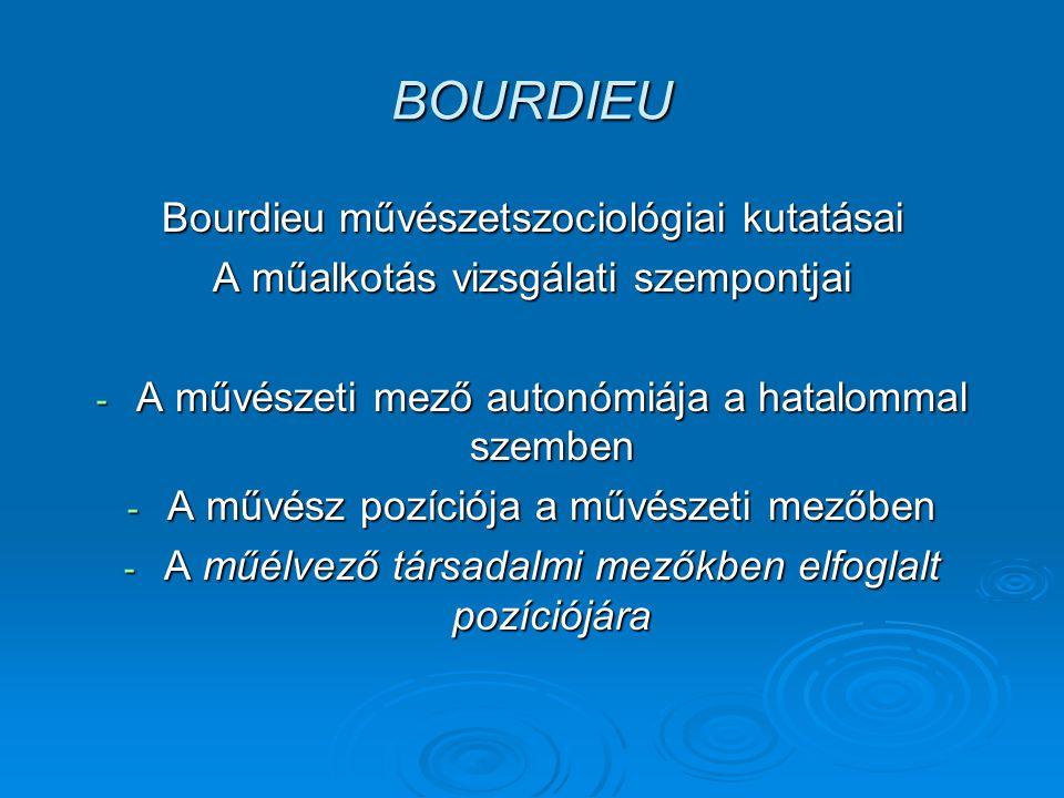 BOURDIEU Bourdieu művészetszociológiai kutatásai A műalkotás vizsgálati szempontjai - A művészeti mező autonómiája a hatalommal szemben - A művész pozíciója a művészeti mezőben - A műélvező társadalmi mezőkben elfoglalt pozíciójára
