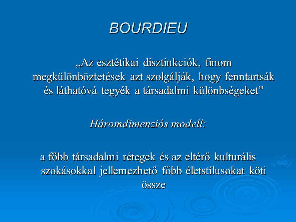"""BOURDIEU """"Az esztétikai disztinkciók, finom megkülönböztetések azt szolgálják, hogy fenntartsák és láthatóvá tegyék a társadalmi különbségeket Háromdimenziós modell: a főbb társadalmi rétegek és az eltérő kulturális szokásokkal jellemezhető főbb életstílusokat köti össze"""