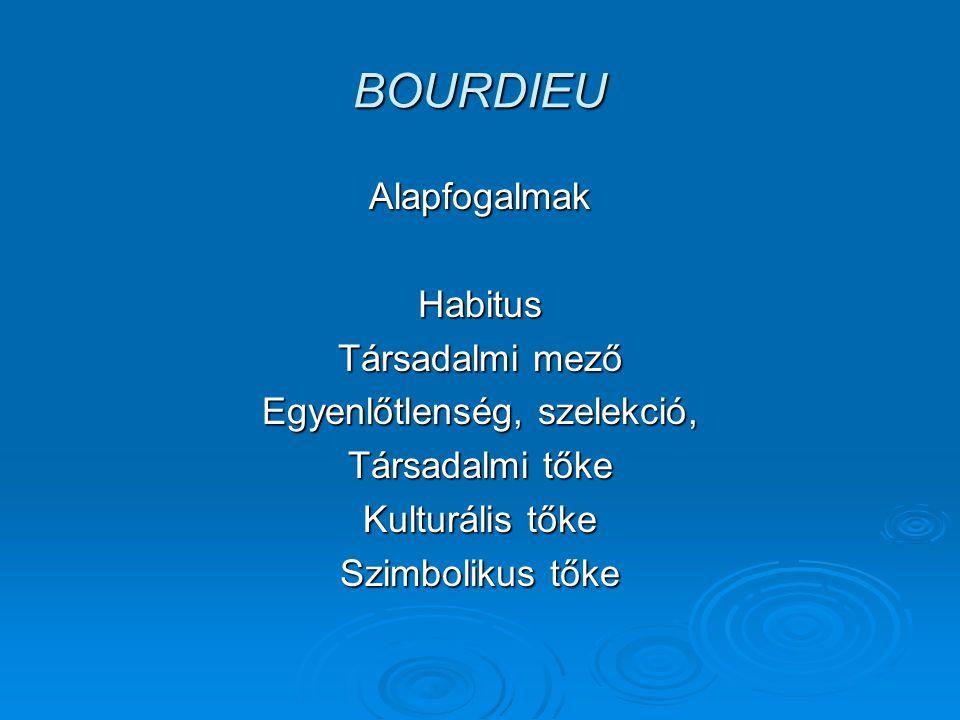 BOURDIEU Bourdieu tudásszociológiája Identitás és reprezentáció.