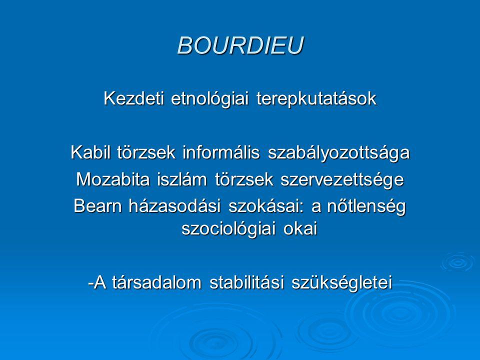 BOURDIEU Kezdeti etnológiai terepkutatások Kabil törzsek informális szabályozottsága Mozabita iszlám törzsek szervezettsége Bearn házasodási szokásai: a nőtlenség szociológiai okai -A társadalom stabilitási szükségletei