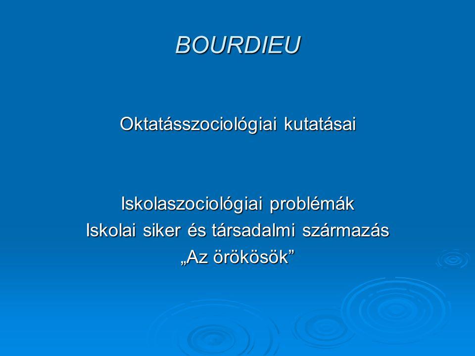 """BOURDIEU Oktatásszociológiai kutatásai Iskolaszociológiai problémák Iskolai siker és társadalmi származás """"Az örökösök"""