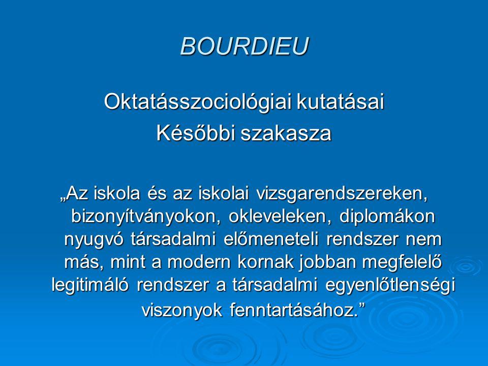 """BOURDIEU Oktatásszociológiai kutatásai Későbbi szakasza """"La Reproduction ( Az újratermelés ) 1970 A reformpedagógia irányi szkepszis"""