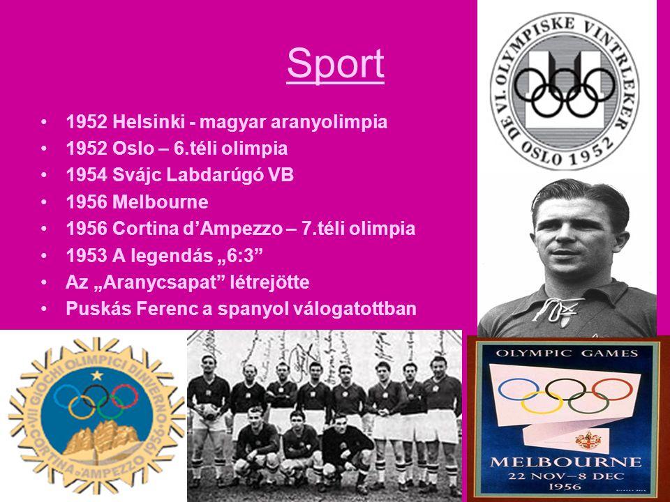 Sport •1952 Helsinki - magyar aranyolimpia •1952 Oslo – 6.téli olimpia •1954 Svájc Labdarúgó VB •1956 Melbourne •1956 Cortina d'Ampezzo – 7.téli olimp