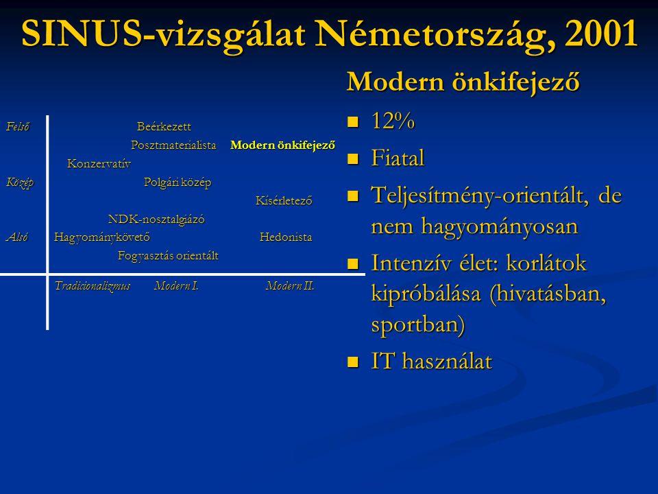 SINUS-vizsgálat Németország, 2001 Modern önkifejező  12%  Fiatal  Teljesítmény-orientált, de nem hagyományosan  Intenzív élet: korlátok kipróbálás