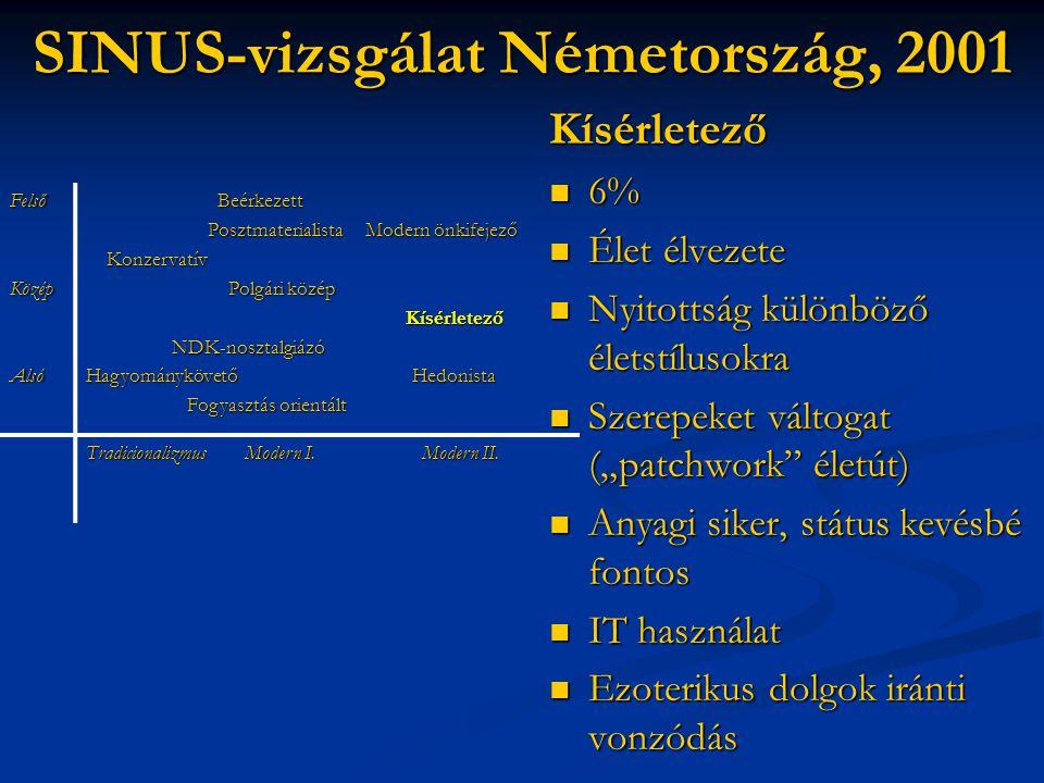 """SINUS-vizsgálat Németország, 2001 Kísérletező  6%  Élet élvezete  Nyitottság különböző életstílusokra  Szerepeket váltogat (""""patchwork"""" életút) """