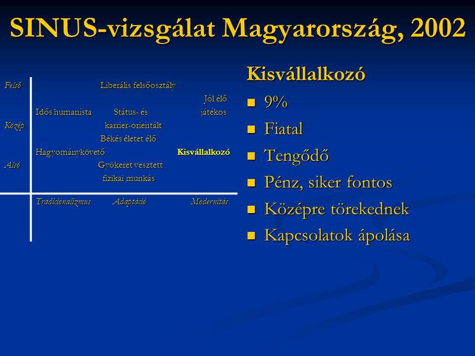 SINUS-vizsgálat Magyarország, 2002 Kisvállalkozó  9%  Fiatal  Tengődő  Pénz, siker fontos  Középre törekednek  Kapcsolatok ápolása FelsőKözépAls