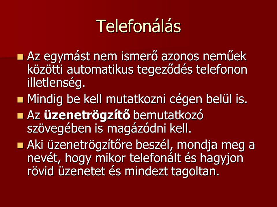 Telefonálás  Az egymást nem ismerő azonos neműek közötti automatikus tegeződés telefonon illetlenség.  Mindig be kell mutatkozni cégen belül is.  A