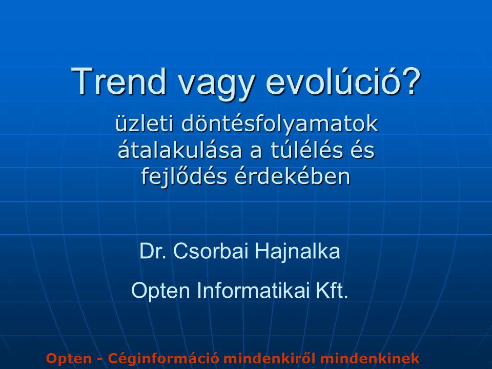 Trend vagy evolúció? üzleti döntésfolyamatok átalakulása a túlélés és fejlődés érdekében Dr. Csorbai Hajnalka Opten Informatikai Kft. Opten - Céginfor