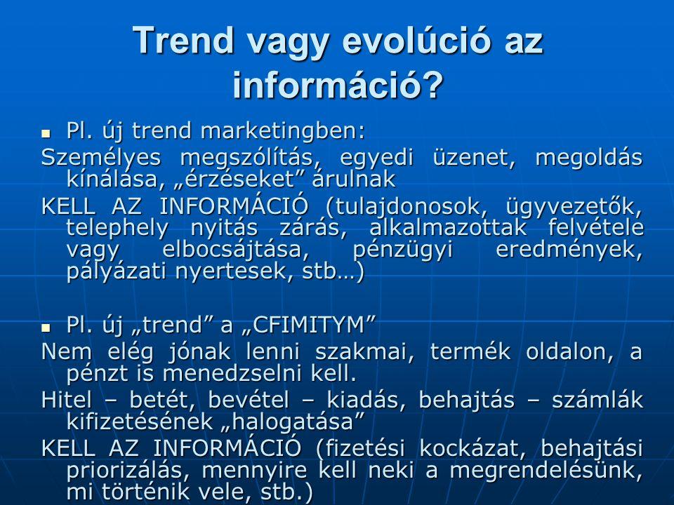 """Trend vagy evolúció az információ?  Pl. új trend marketingben: Személyes megszólítás, egyedi üzenet, megoldás kínálása, """"érzéseket"""" árulnak KELL AZ I"""
