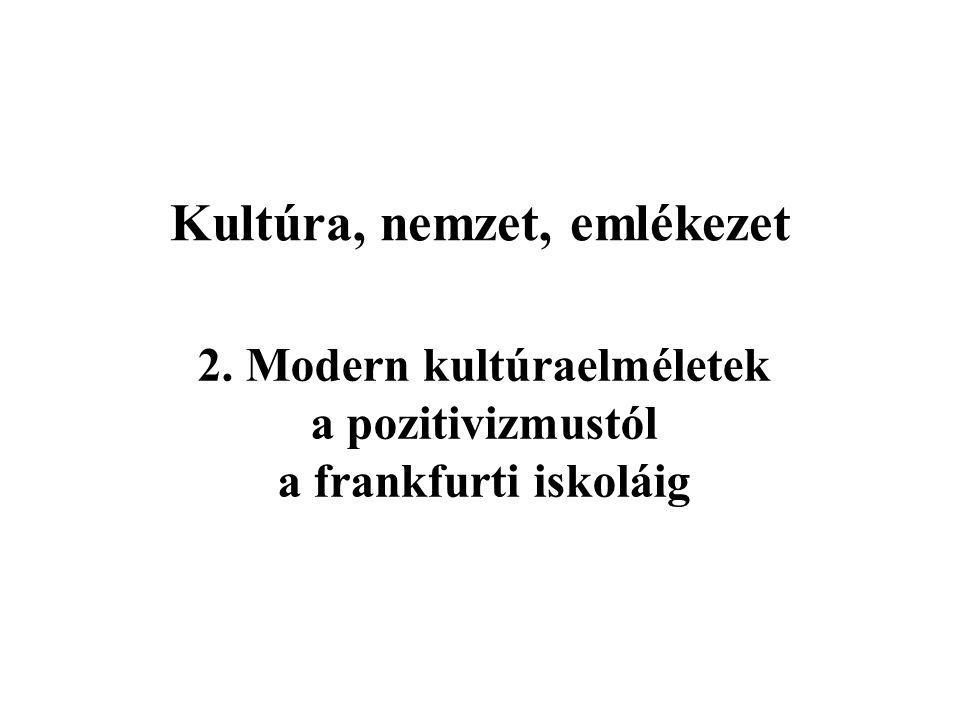 Kultúra, nemzet, emlékezet 2. Modern kultúraelméletek a pozitivizmustól a frankfurti iskoláig