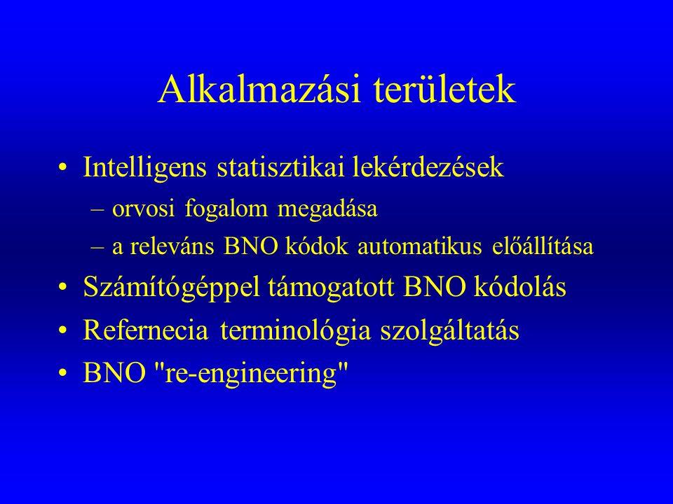 Alkalmazási területek •Intelligens statisztikai lekérdezések –orvosi fogalom megadása –a releváns BNO kódok automatikus előállítása •Számítógéppel tám