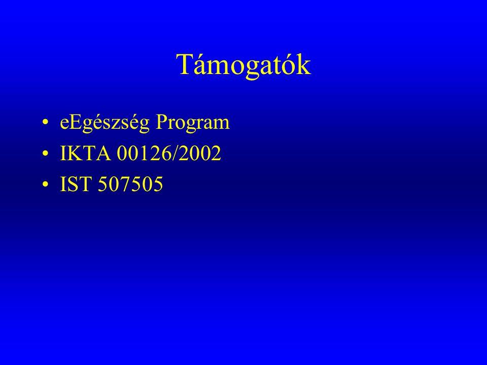 Támogatók •eEgészség Program •IKTA 00126/2002 •IST 507505