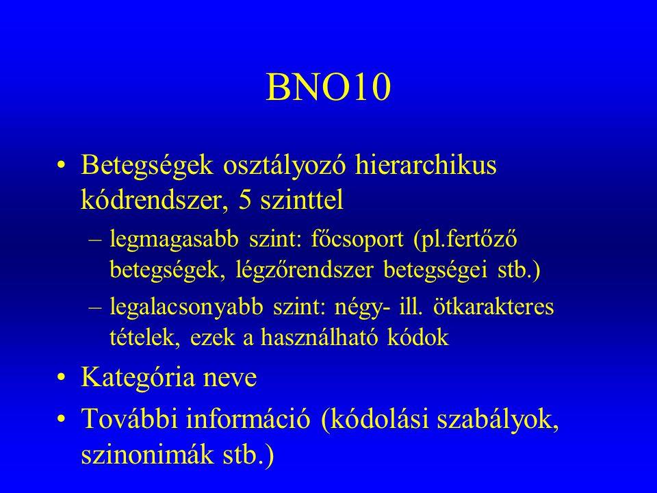 BNO10 •Betegségek osztályozó hierarchikus kódrendszer, 5 szinttel –legmagasabb szint: főcsoport (pl.fertőző betegségek, légzőrendszer betegségei stb.)